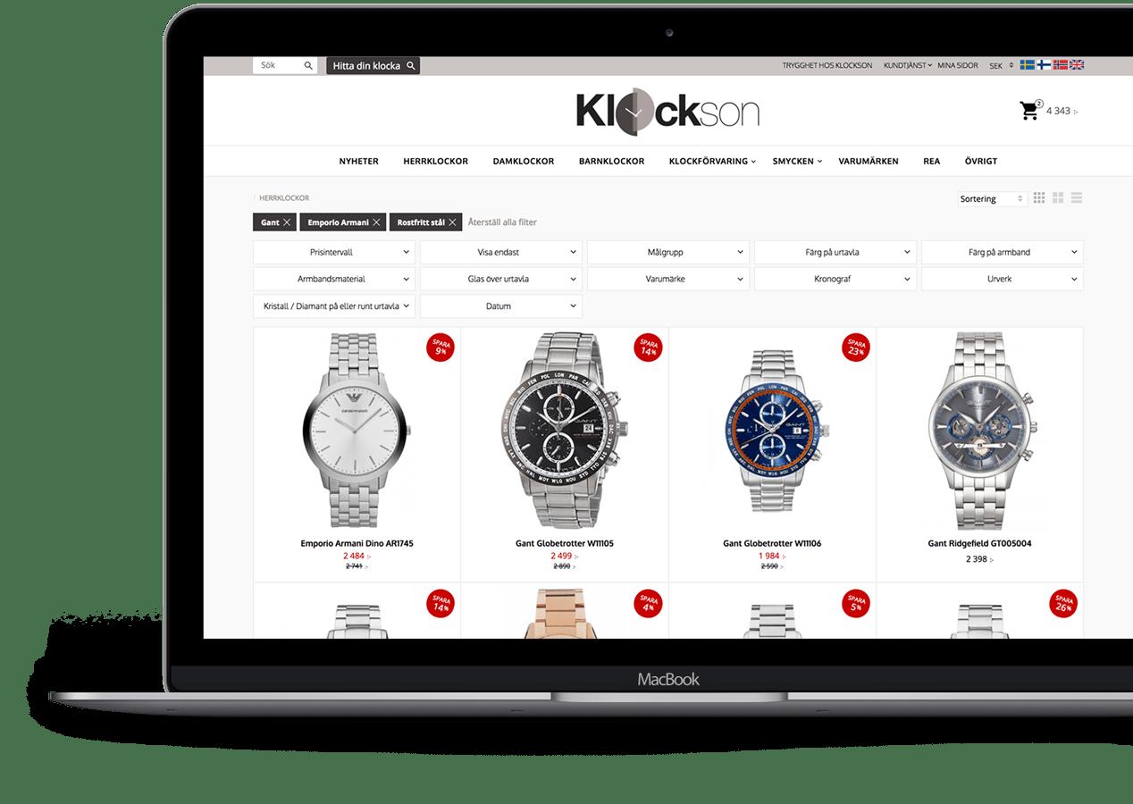 Klockson - E-handelsplattform och lösning från Starweb