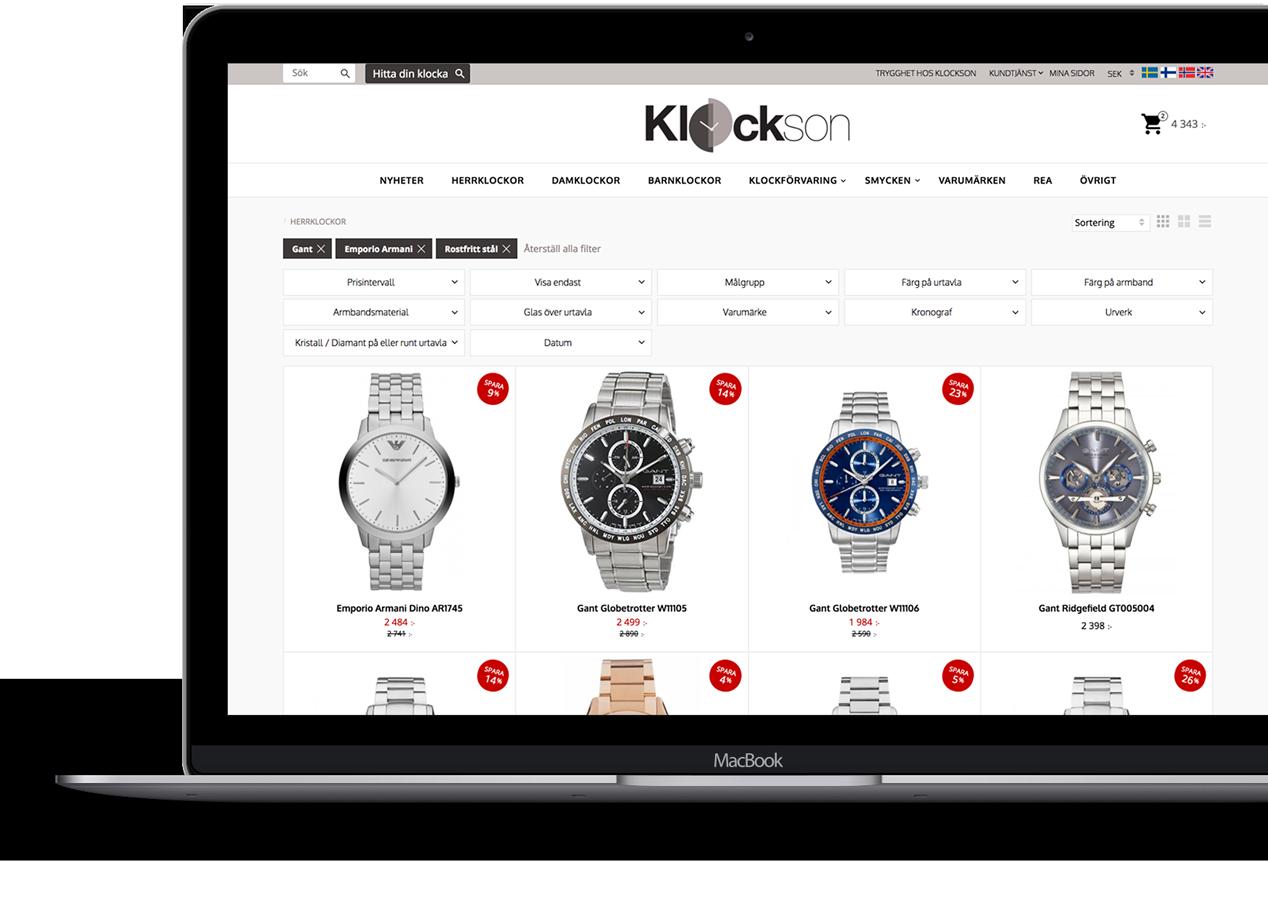 Starwebs e-handelslösning PREMIUM, hjälper kunden att enkelt filtrera fram rätt produkter i realtid.