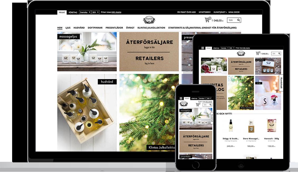 Klinta & Co med Starweb e-handelsplattform