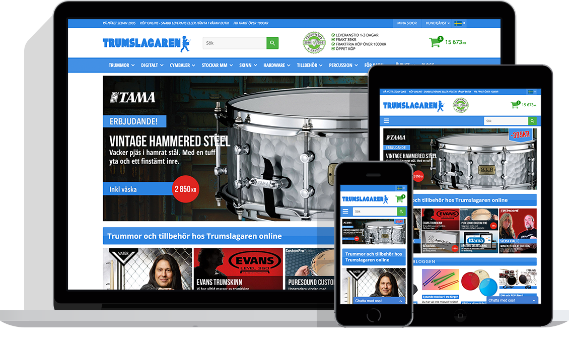 Trumslagaren med Starweb e-handelsplattform