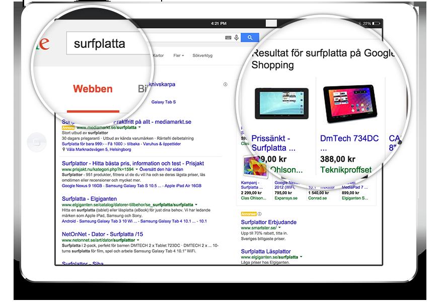 Google shopping i webbshop