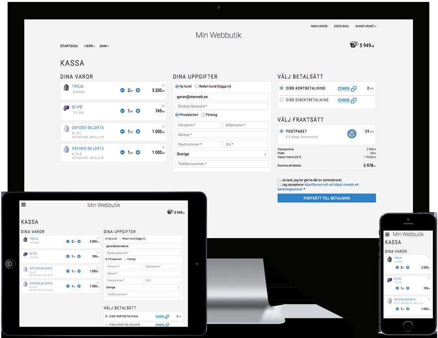 Flexibel responsiv kassa med en, två eller tre kolumner i kassan e-handelslösning