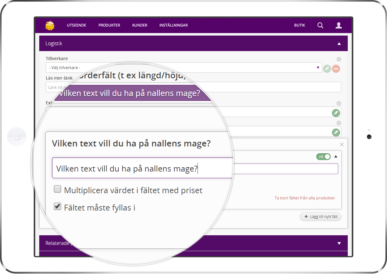 Unika produktfält i Starweb webbutik