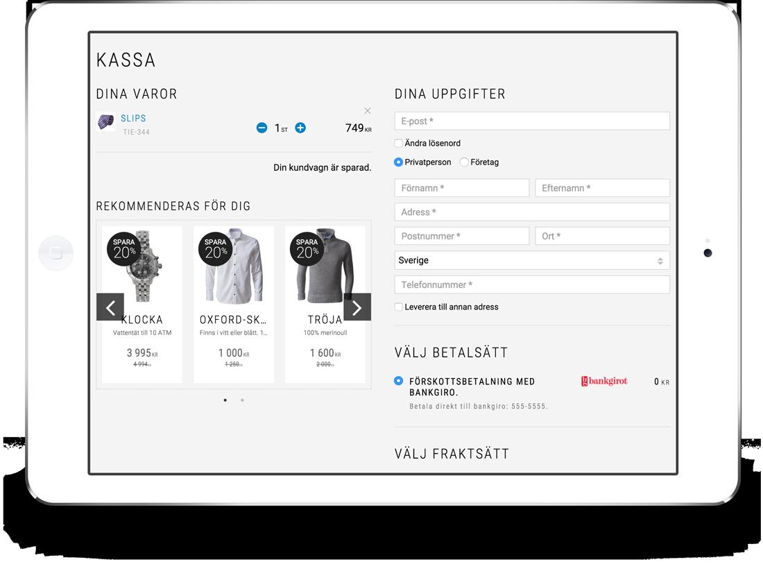 Merförsäljning i kassan i e-handelslösning