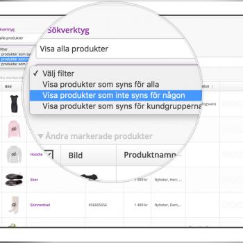 Nu är det enkelt att se vilka produkter som är dolda i Starweb admin