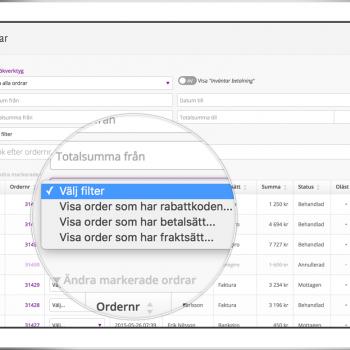 En rad nya sökkombinationer gör det enkelt att hitta bland Starweb order.