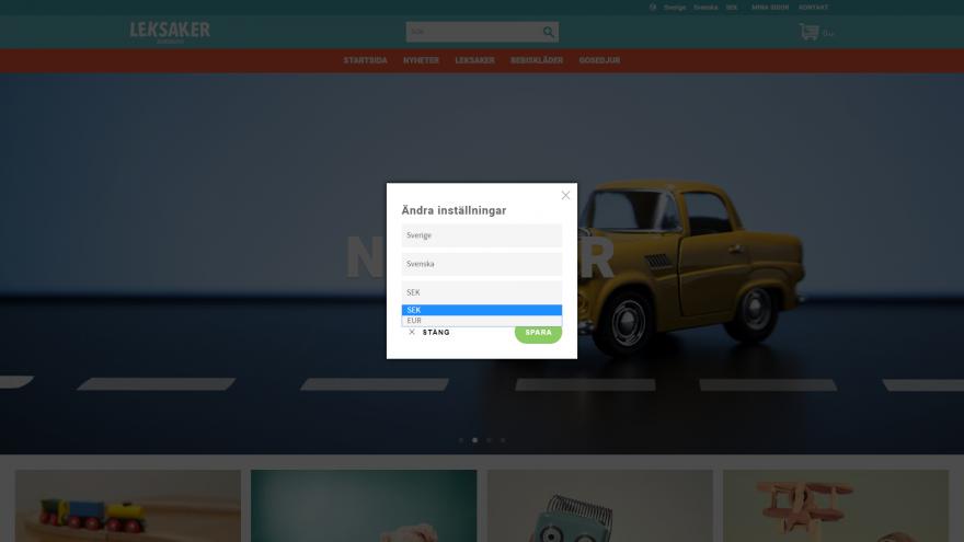 Butiksdel - Startsida, välj språk/land/valuta