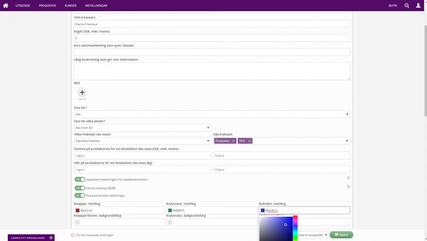 Admin - Klarna Checkout med automatisk uppdatering av betalningar, B2B samt möjlighet att bestämma exakta färger!
