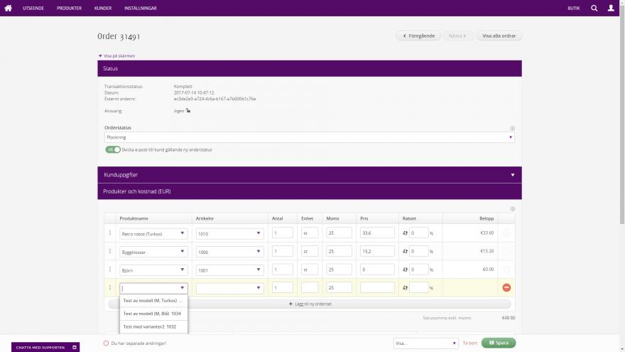 Admin - Orderhantering med smarta orderrader