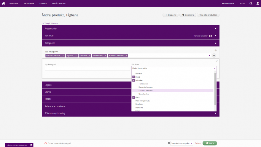 Admin - Produkt med obegränsat antal kategorier, lägg enkelt till fler