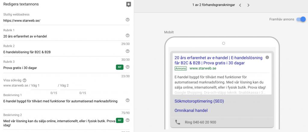 nya formatet på Google ads