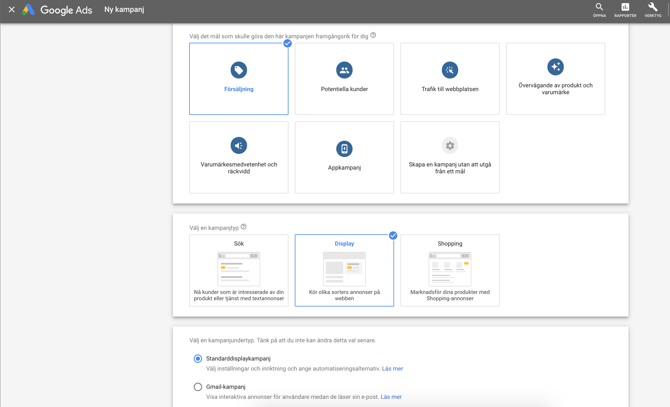 Kampanj i Googles displaynätverk