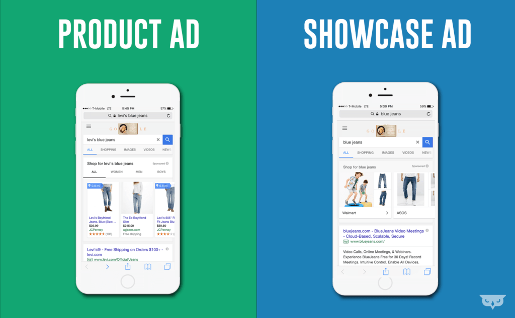 Google Shopping produktannonser vs presentationannonser