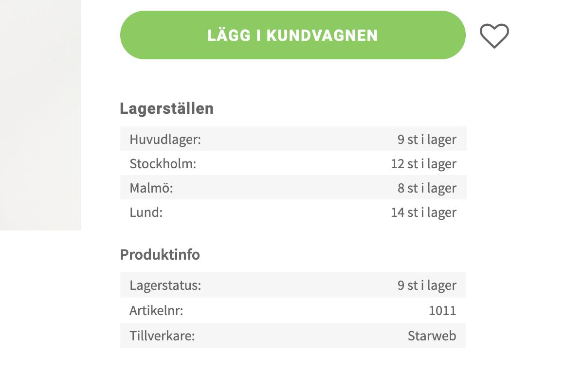 Flera lagerställen - Produktsidan inzoomad