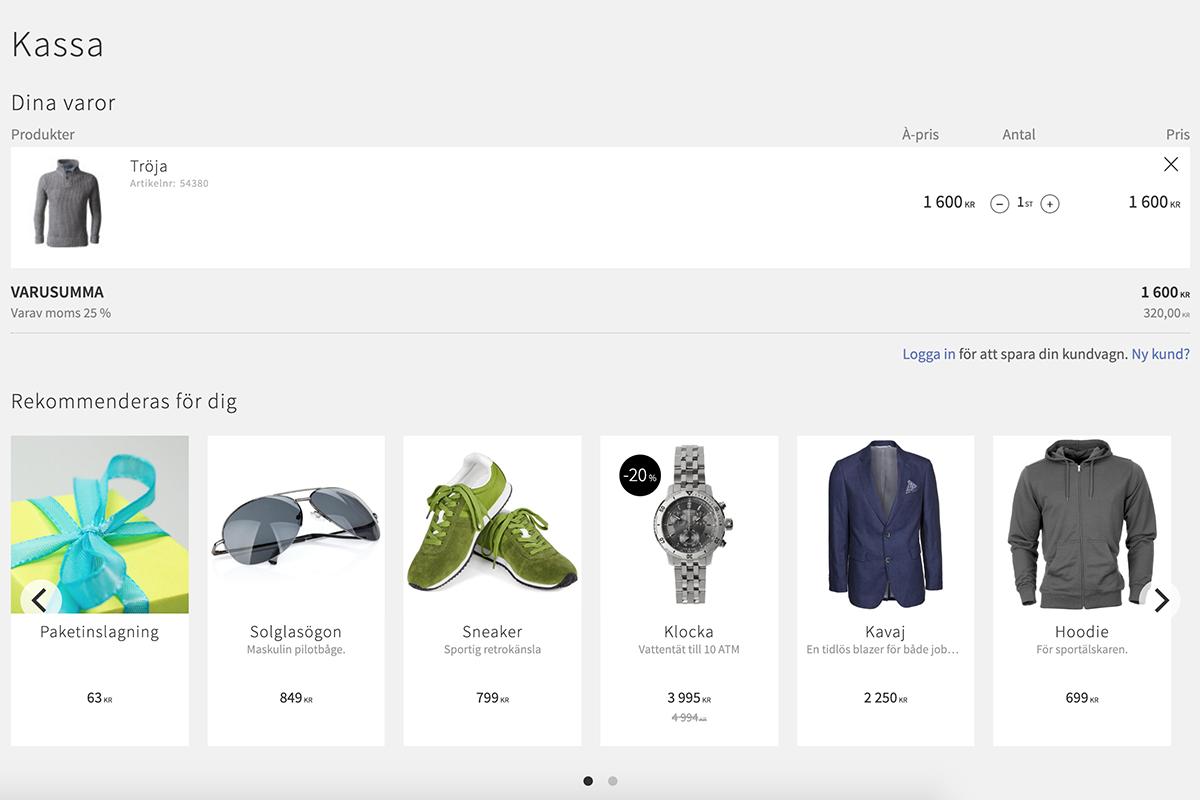 Merförsäljning i kassan med relaterade samt specifika produkter