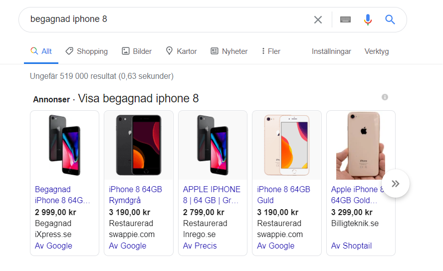 Google Shopping resultat